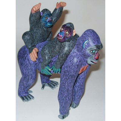 Oaxacan Wood Carving Eleazar Morales: Gorilla Family African Animals