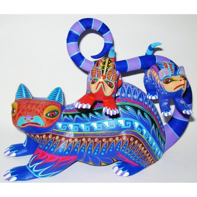 Oaxacan Wood Carving Orlando Mandarin: Possums Baby Animal