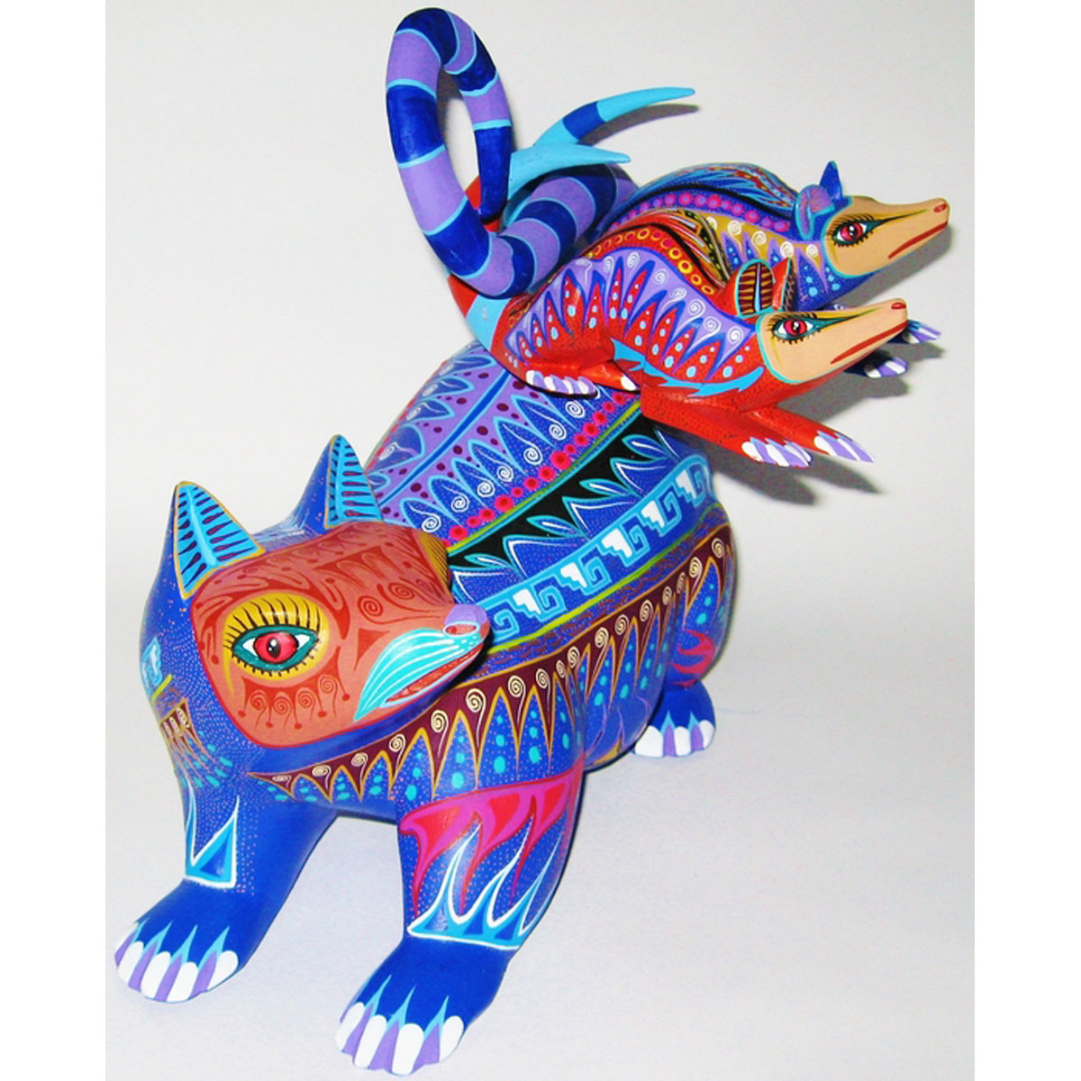 Oaxacan Wood Carving Orlando Mandarin: Possums Baby Animal