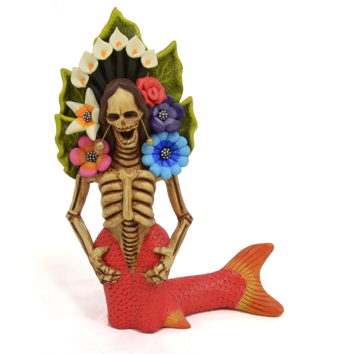 Aguilar Family Pottery: Guillermina Aguilar - Day of the Dead Mermaid holding flowers