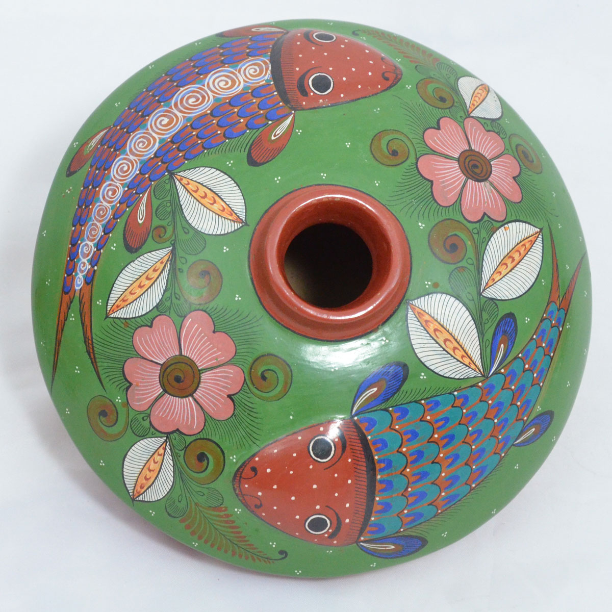 Jalisco - Footed Small Pot with Fish Green