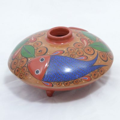 Jalisco - Footed Small Pot with Fish Brown
