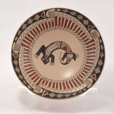 Blanca Quezada Blanca Quezada: Small Mimbres Style Plate with Lizard and Snake Lizards