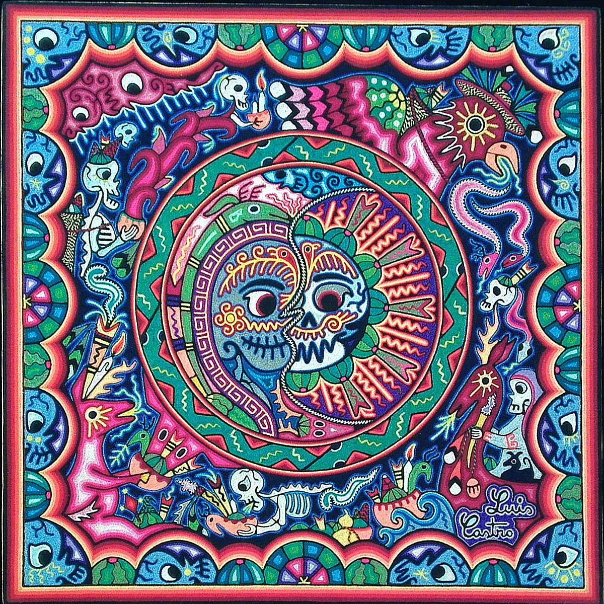 Luis Castro Very Fine Huichol Yarn Painting
