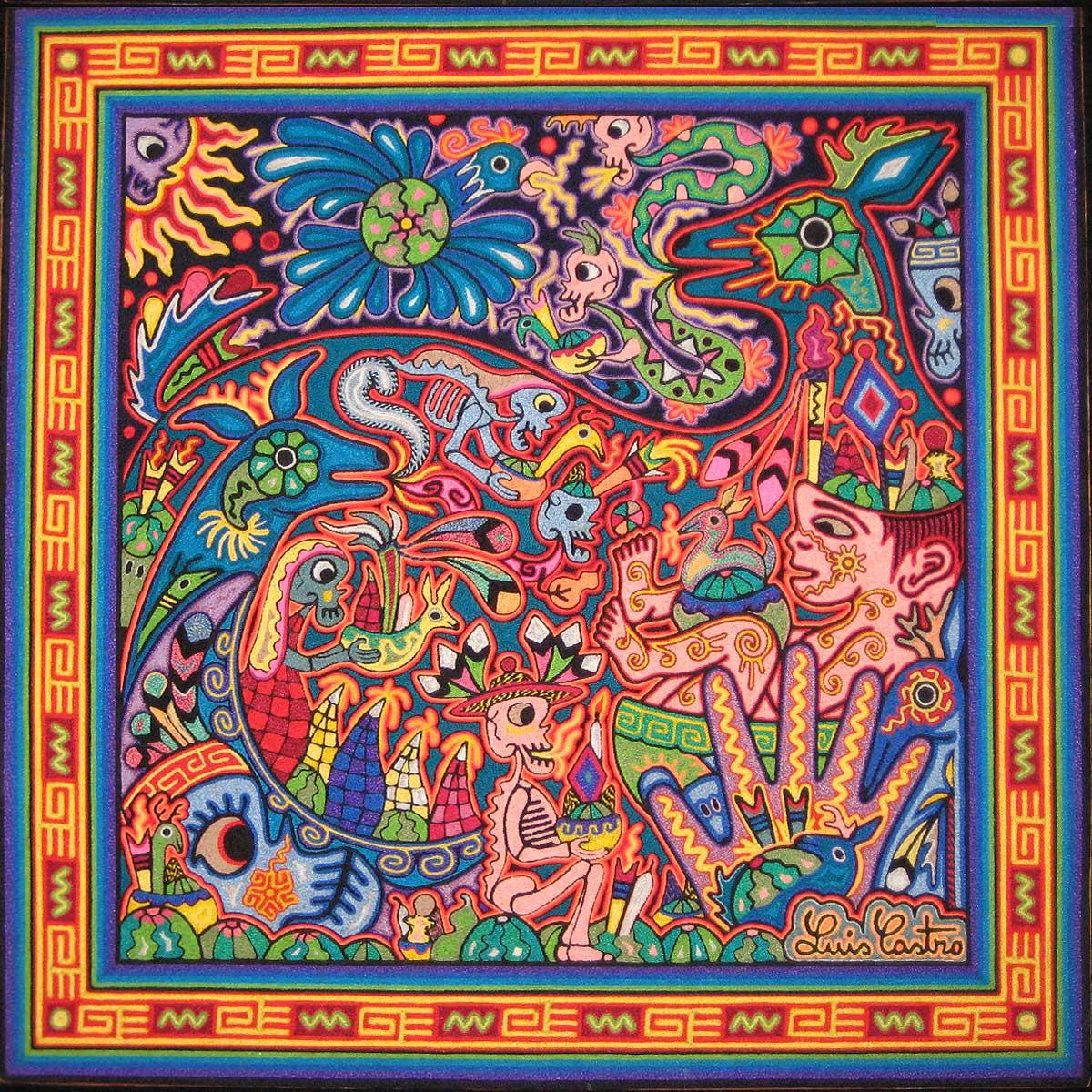 Luis Castro Premier Huichol Yarn Painting 24 x24