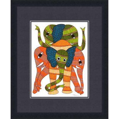 Gond Tribal Art Rajendra Shyam: Elephant Family Elephant