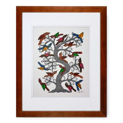Gond Tribal Art Dwarka Paraste: Bird Tree Birds