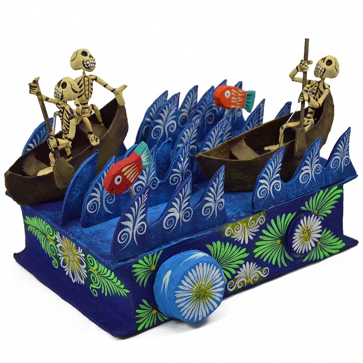Mechanical Folk Art Josue Eleazar Castro: Award Winning Replica – Large Rowing Skeletons cartoneria