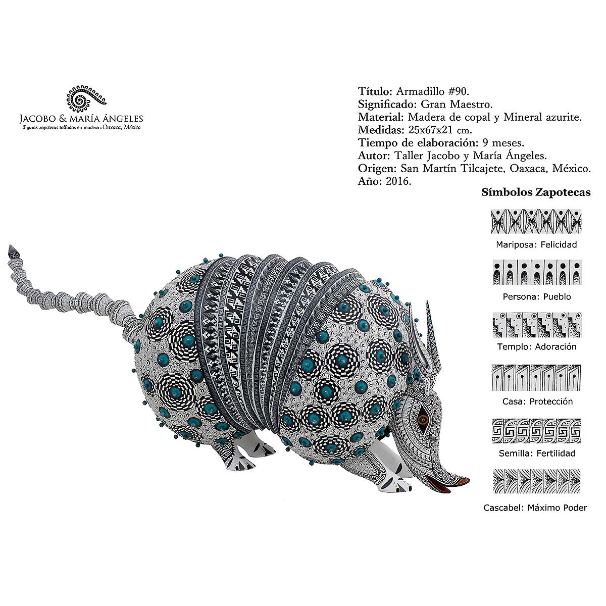 Jacobo and Maria Angeles Jacobo and Maria Angeles: Armadillo Encrusted with Azurite Armadillo