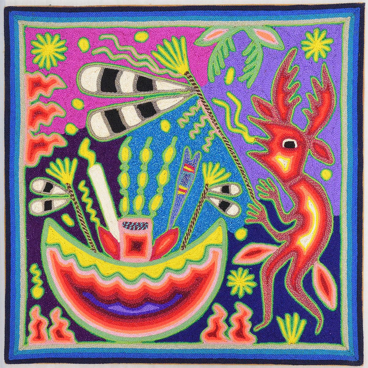 Maximino Renteria de la Cruz & Yolanda Diaz Medina: Huichol Yarn Painting