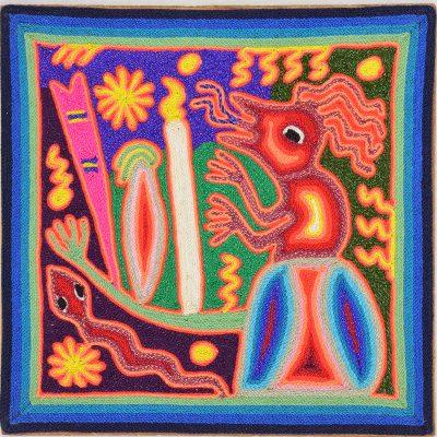 Wixárika (Huichol) Art Maximino Renteria de la Cruz & Yolanda Diaz Medina: Huichol Yarn Painting 8″ Shamanism