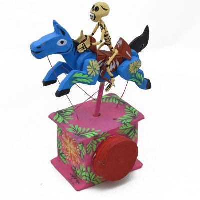 Cartoneria (Mexican Paper Mache) Josue Eleazar Castro: Blue Galloping Horse cartoneria