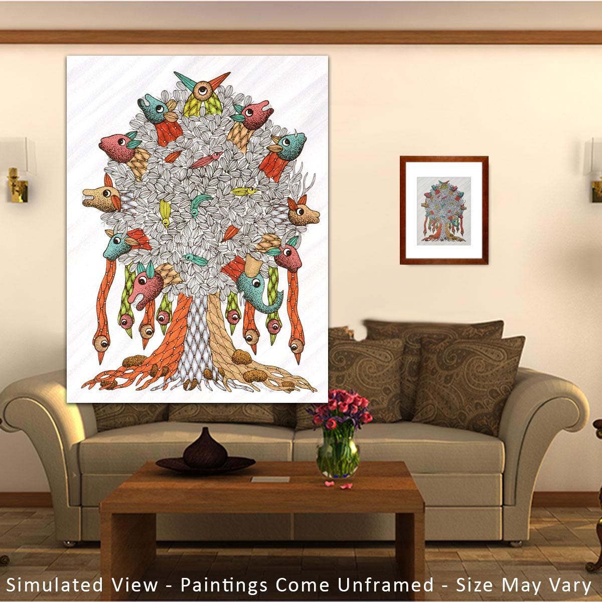 Gond Tribal Art Santosh Maravi: Tree of Life Gond Art