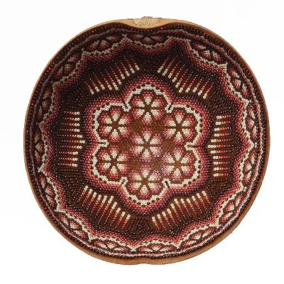 Wixárika (Huichol) Art Med. Carved and Beaded Jicarilla Bowl Beaded