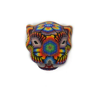 Wixárika (Huichol) Art Mini Jaguar Head Beaded on Resin Mold Beaded