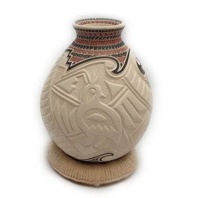 Martin Olivas Quintana Martin Olivas Quintana: Small Incised Pot with Quail, Roadrunner, Macaw Motifs Birds