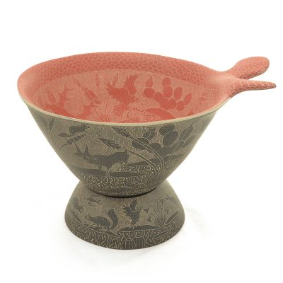 Angel Guerrero Angel Guerrero: Black on Red Sgraffito Bowl Mata Ortiz Pottery