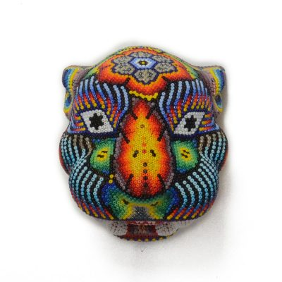 Wixárika (Huichol) Art Small Jaguar Head Beaded Resin Mold Beaded