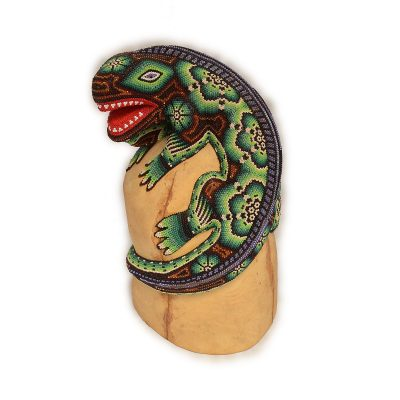 Wixárika (Huichol) Art Large Huichol Beaded Lizard Wood Carving with Metallic Beads Beaded