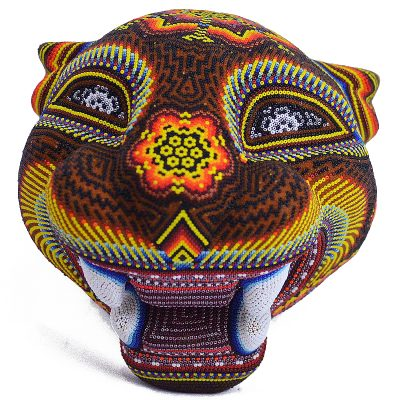 Wixárika (Huichol) Art Santos Bautista: Jaguar Head Large Wood Carved w/ metallic beads Beaded