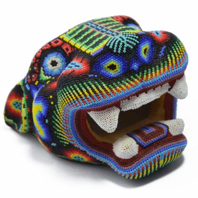 Wixárika (Huichol) Art Octaviano Villa Lopez : Jaguar Head Small Wood Carved & Micro Beaded – Corn Motif Beaded
