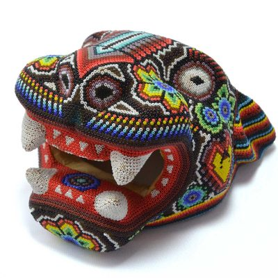 Wixárika (Huichol) Art Octaviano Villa Lopez : Jaguar Head Small Wood Carved & Micro  Beaded with Candle Motif Beaded