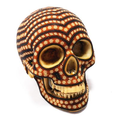 Wixárika (Huichol) Art Santos Bautista: Human Skull Large Metallic Beaded – White, Brown, Black Beaded