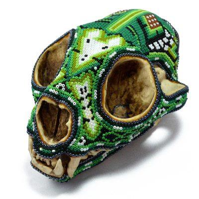 Wixárika (Huichol) Art Santos Bautista: Puma Skull Beaded Green Beaded