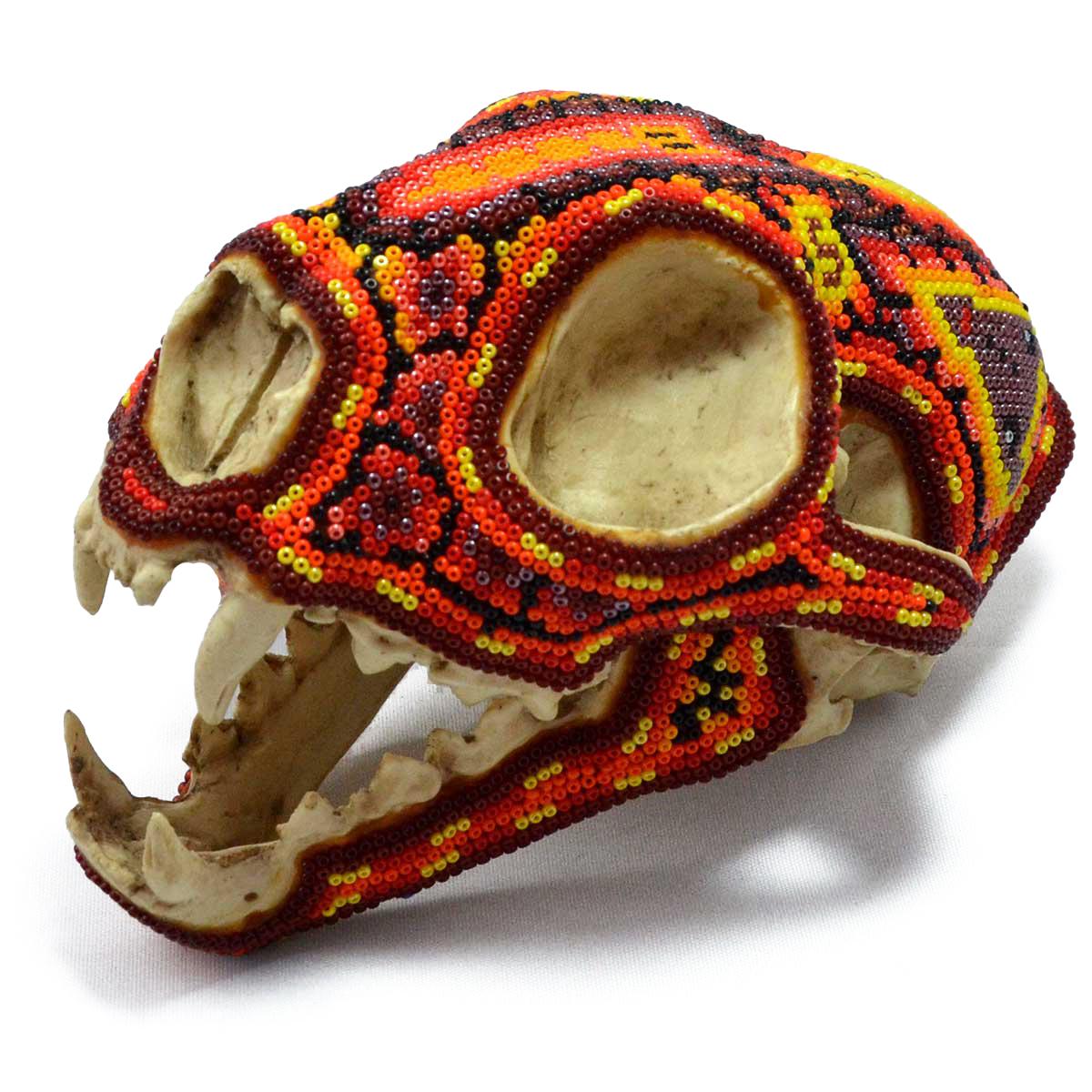 Wixárika (Huichol) Art Santos Bautista: Puma Skull Beaded Orange Beaded