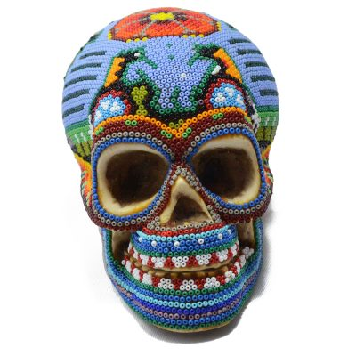Wixárika (Huichol) Art Jesus Jimenez: Human Skull Small Beaded – Blue Bird Beaded