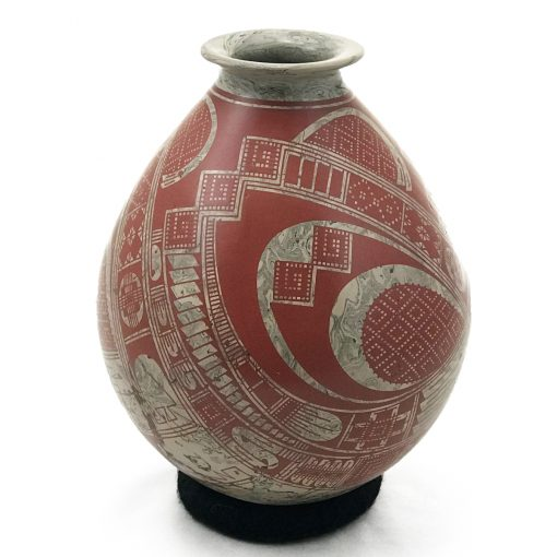 Gerardo Pedregon Ortiz Gerardo Pedregon Ortiz: Gray Red Marbled Pot Marbleized