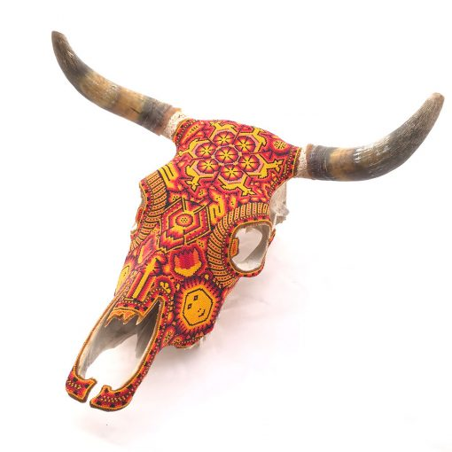 Tucson Lifestyle Feature Carlos Bautista: Red and Yellow Huichol Beaded Bull Skull Beaded