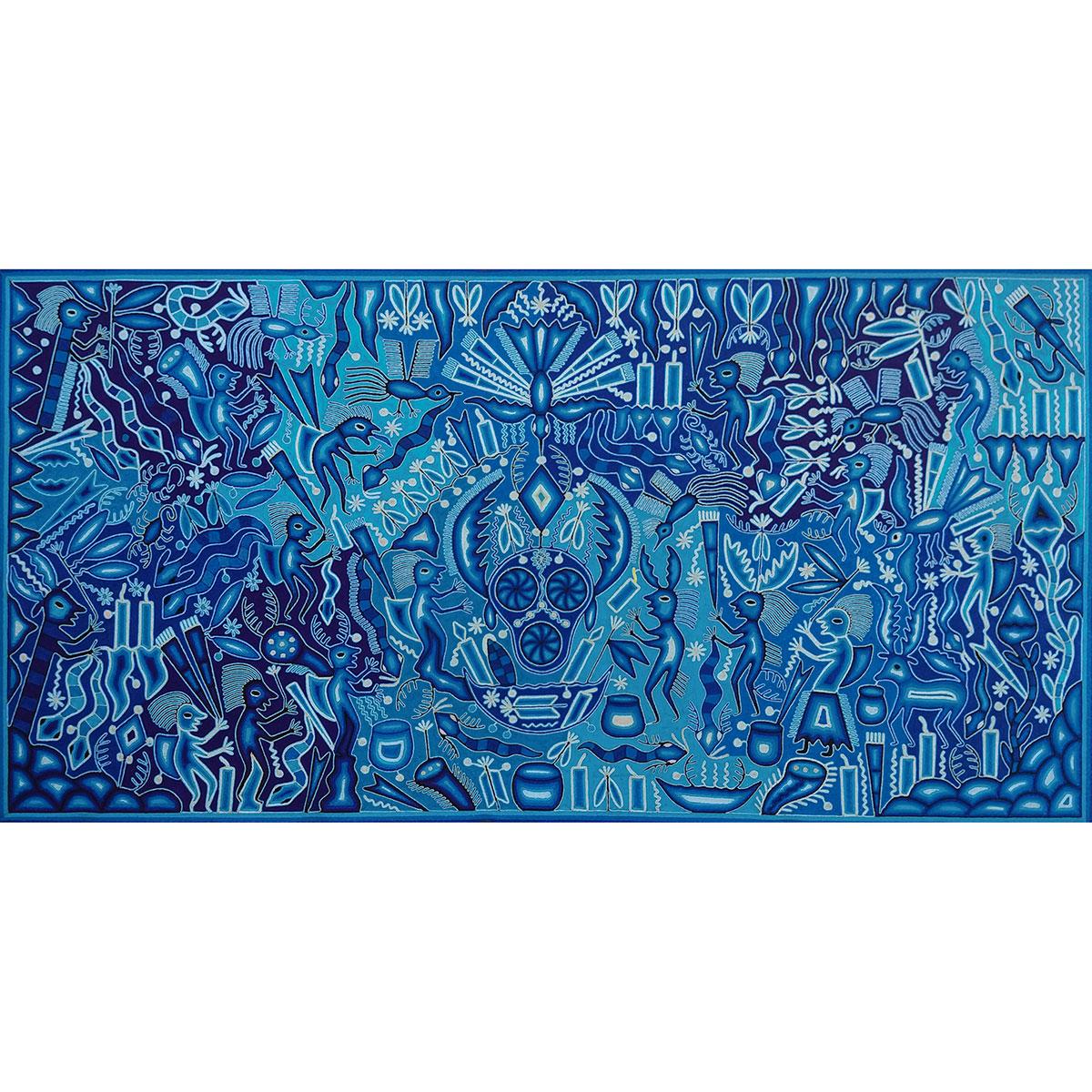 Wixárika (Huichol) Art Emiliano de la Cruz Benítez: Premier Very Large Blue Toned Huichol Yarn Painting Huichol