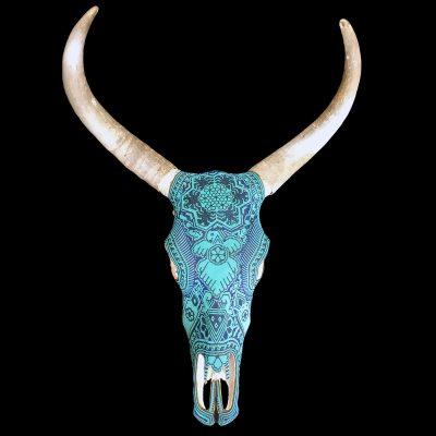 Wixárika (Huichol) Art Mauricio de la Cruz: Green Blue Bull Skull Wall Hanging Beaded
