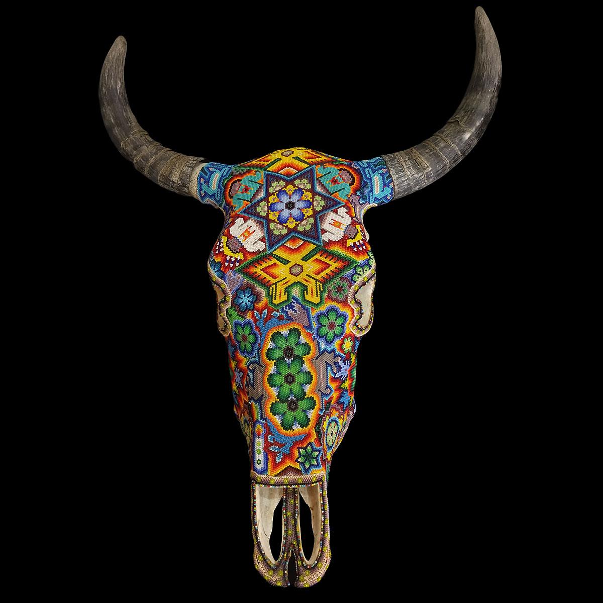 Wixárika (Huichol) Art Mauricio de la Cruz: Peyote / People / Blue Deer Bull Skull Wall Hanging Beaded