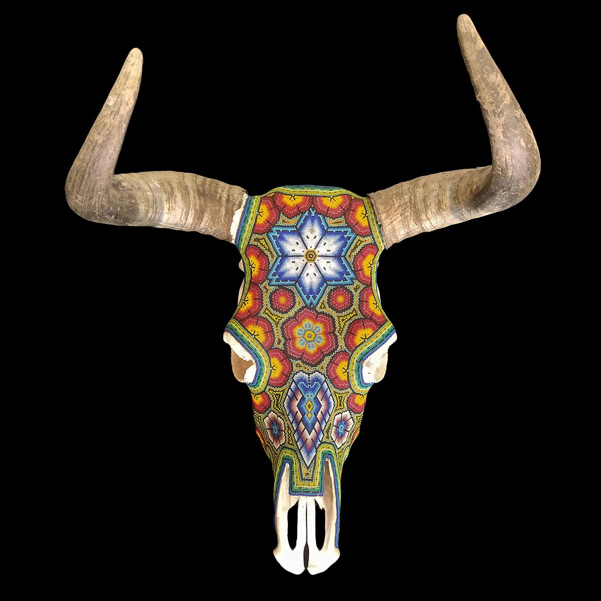 Wixárika (Huichol) Art Octaviano Villa Lopez: Multicolor Peyote with Wolf Motif Bull Skull Wall Hanging Beaded