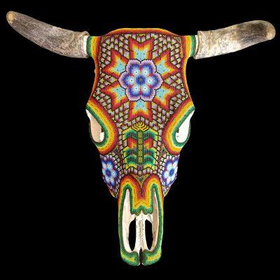 Wixárika (Huichol) Art Juan Villa Lopez: Multicolor Peyote / Corn / Coyote Bull Skull Wall Hanging Beaded