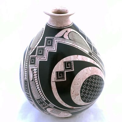 Gerardo Pedregon Ortiz Gerardo Pedregon Ortiz: Black and Rose Marbled Pot Marbleized