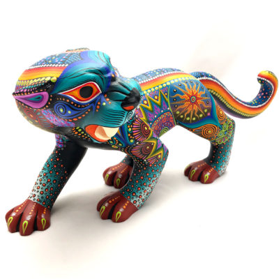 Oaxacan Wood Carving Luis Sosa Calvo: Fierce Jaguar Cats