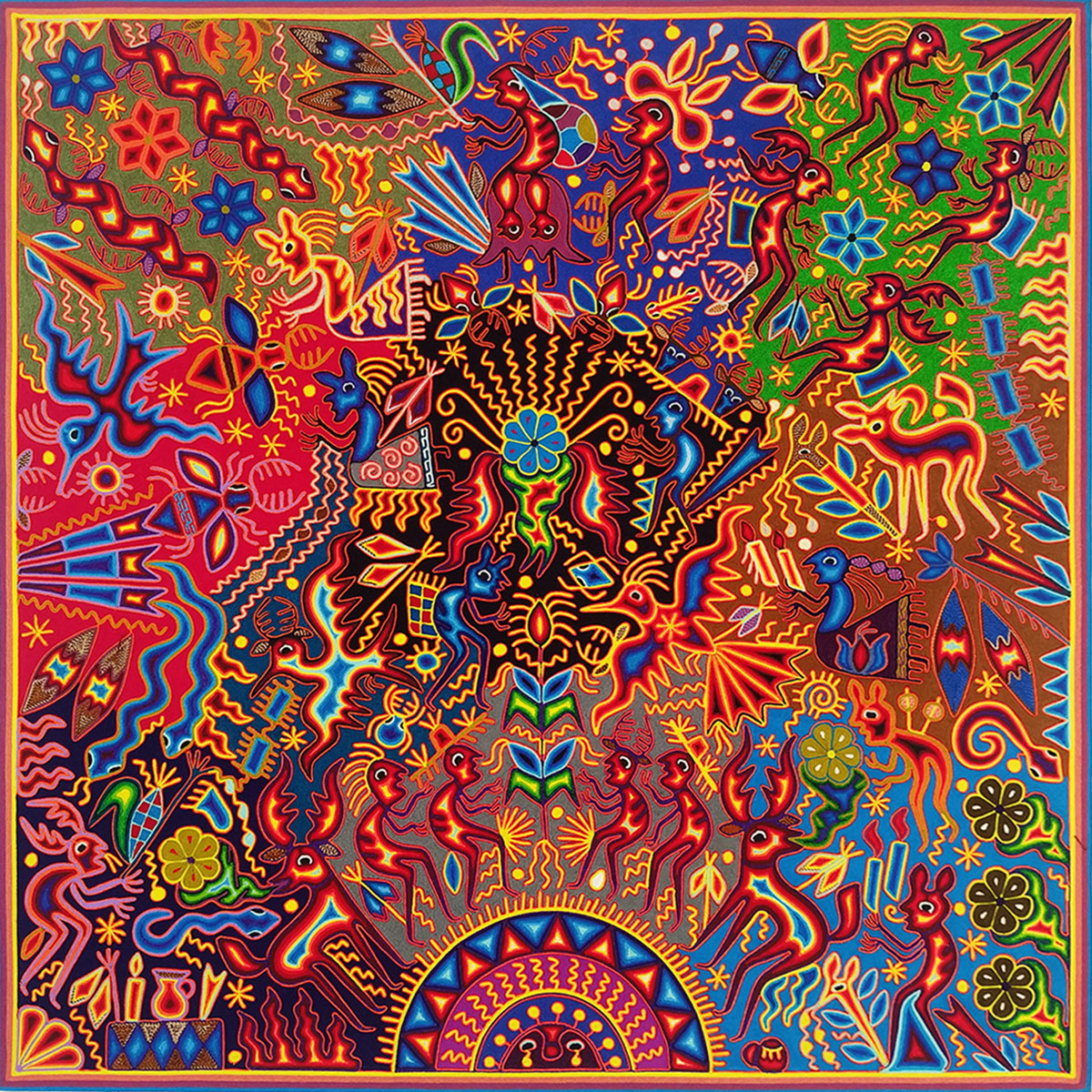 Wixárika (Huichol) Art Hilaria Chávez Carrillo: Dream of the Gods Premier Huichol Yarn Painting Hilaria Chavez Carrillo