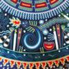 Wixárika (Huichol) Art Maximino Renteria: Premier Blue Toned Huichol Yarn Painting Huichol