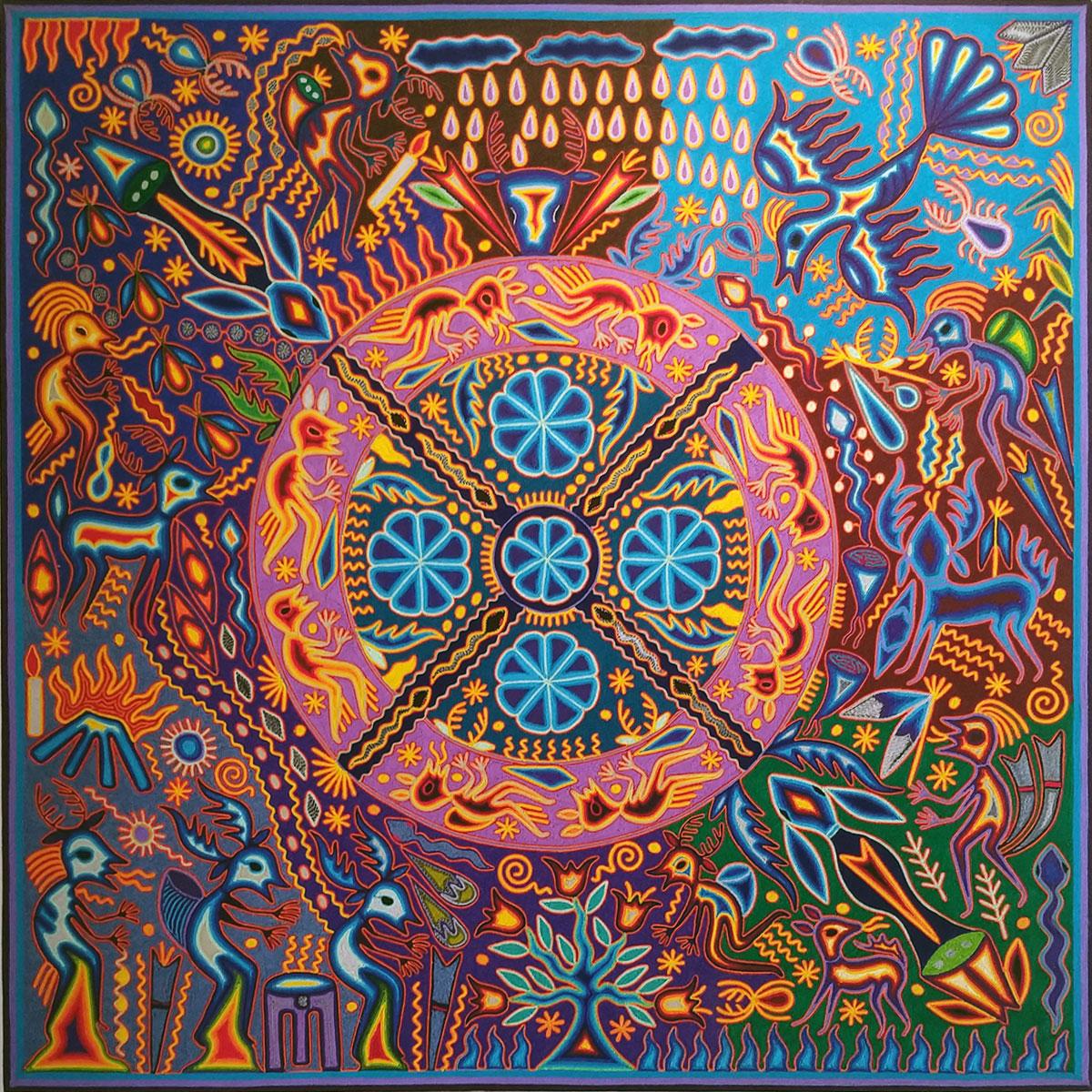 """Wixárika (Huichol) Art Emilio de la Cruz Benitez: Premier 48 """" Huichol Yarn Painting Emilio de la Cruz Benitez"""