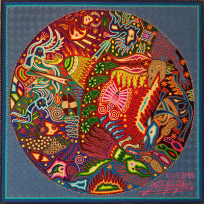Wixárika (Huichol) Art Justo Benítez: Premier Huichol Multi Color Yarn Painting – Direct From Mexico Huichol