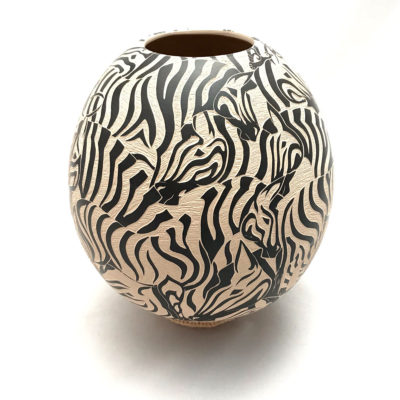 Abraham Rodriguez Abraham Rodriguez: Stunning Zebra Sgraffito Bowl sgraffito