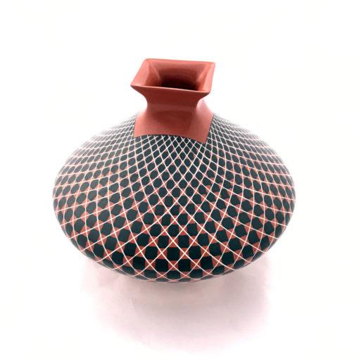 Geometric Olga Quezada: Medium Red Geometric Square Mouth [tag]