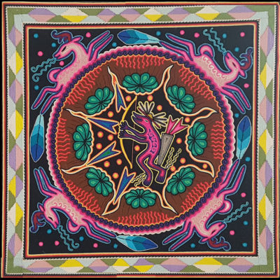 Wixárika (Huichol) Art Neikame: Pastel Deer Premier Very Fine Huichol Yarn Painting – Direct From Mexico Huichol