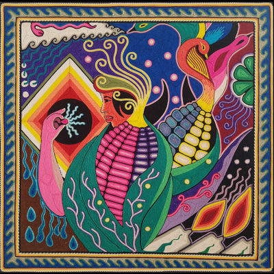 Wixárika (Huichol) Art Neikame: Premier Very Fine Huichol Yarn Painting – Direct From Mexico Huichol