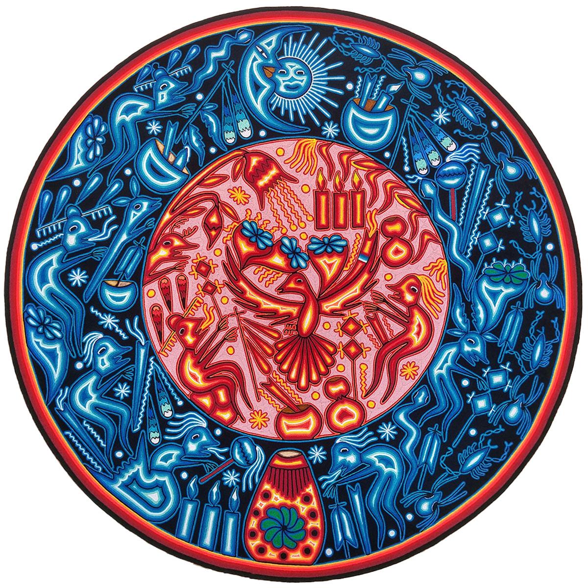 Wixárika (Huichol) Art Heliceo de la Cruz Benitez: 39″ Premier Round Huichol Yarn Painting Direct from Mexico Huichol