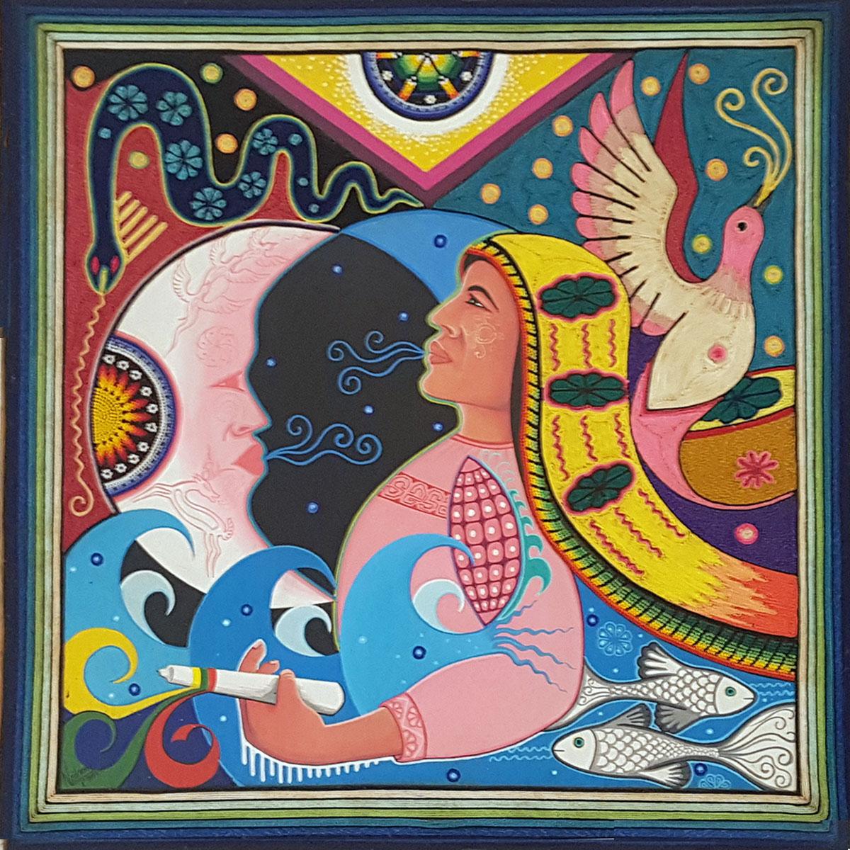 Wixárika (Huichol) Art Neikame: Premier Mixed Media Huichol Yarn Painting – Direct from Mexico Huichol