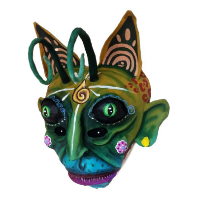 Cartoneria (Mexican Paper Mache) Isaias Alejandro Morales Delgado: Mask Entitled Natural Breath cartoneria